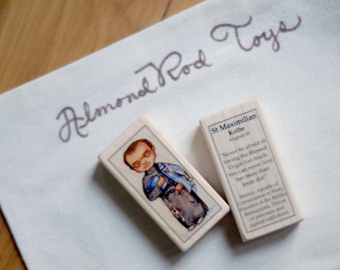 St Maximilian Kolbe Patron Saint Block // Catholic Toys by AlmondRod Toys
