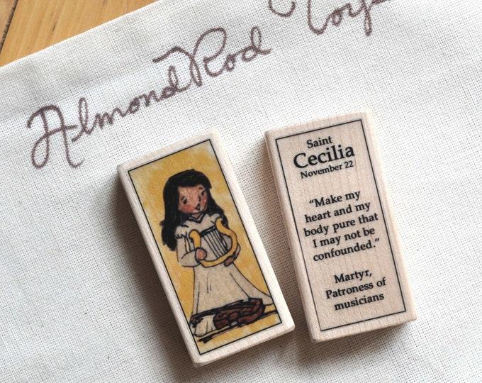 St Cecilia Patron Saint Block // Catholic Toys by AlmondRod Toys