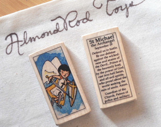St Michael the Archangel Patron Saint Block // Catholic Toys by AlmondRod Toys