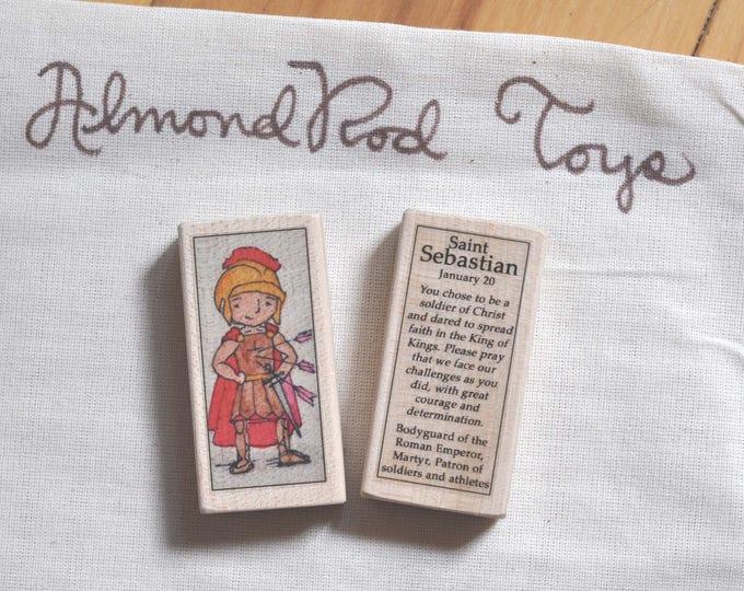 St Sebastian Patron Saint Block // Catholic Toys by AlmondRod Toys