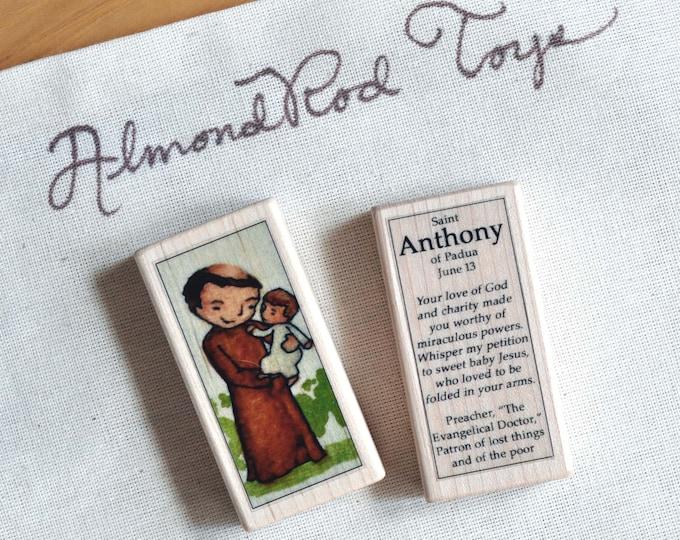 St Anthony of Padua Patron Saint Block // Patron of lost things // Catholic Toys by AlmondRod Toys