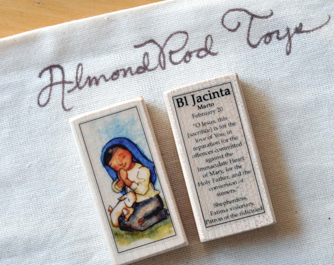 St Jacinta Marto of Fatima Patron Saint Block // Catholic Toys by AlmondRod Toys