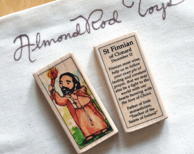 St Finnian of Clonard Patron Saint Block // Catholic Toys by AlmondRod Toys