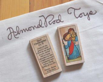 St Christopher Patron Saint Block // Catholic Toys by AlmondRod Toys