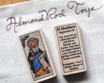 St Matthew Patron Saint Block // Gospel writer // Catholic Toys by AlmondRod Toys