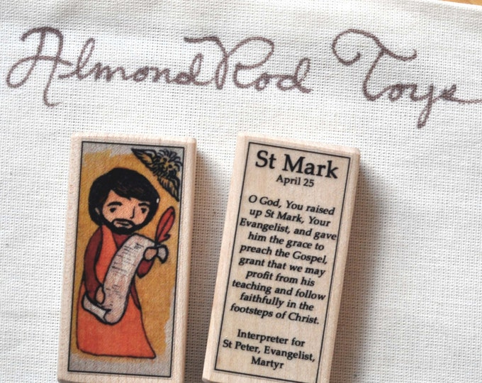 St Mark Patron Saint Block // Gospel writer // by AlmondRod Toys