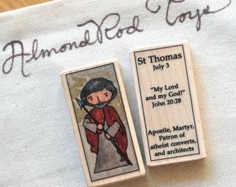 St Thomas the Apostle Patron Saint Block // patron saint of atheists // Catholic Toys by AlmondRod Toys