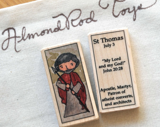 St Thomas the Apostle Patron Saint Block // 100+ saints to choose from // patron saint of atheists