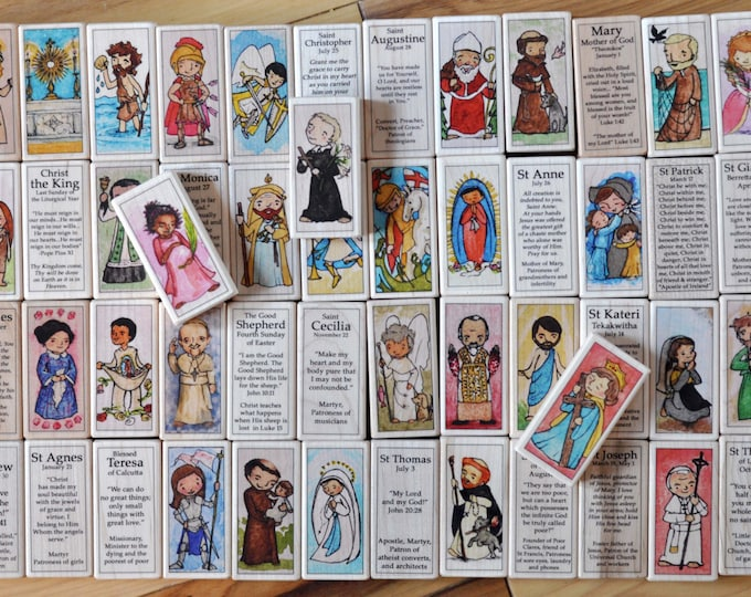 30 Wood Saint Blocks Set - 30 Catholic Saints of your choice // Catholic boy // Catholic girl