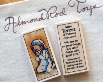 St Teresa of Calcutta Patron Saint Block // Mother Teresa // Catholic Toys by AlmondRod Toys