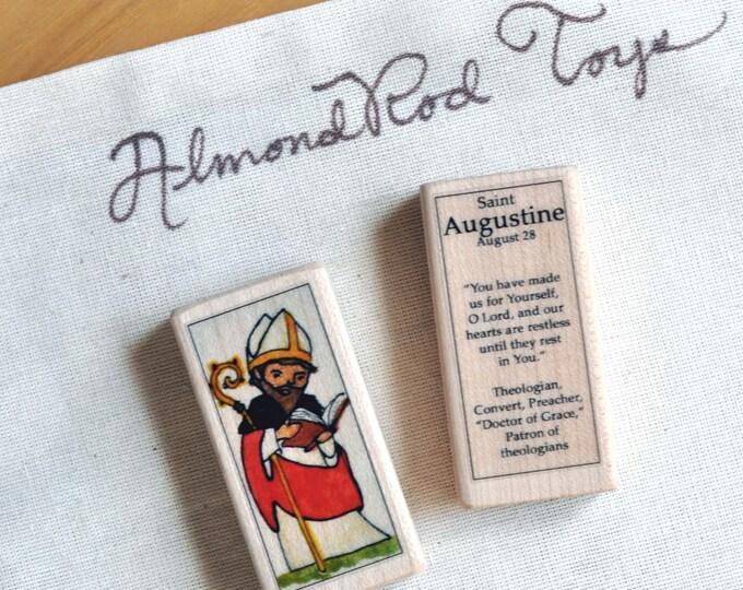 St Augustine Patron Saint Block // Catholic Toys by AlmondRod Toys