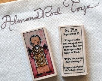 St Pio Patron Saint Block // Padre Pio // Catholic Toys by AlmondRod Toys