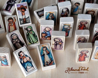 15 Patron Saint Blocks of your choice // 150+ saints to choose from // Catholic Toys by AlmondRod Toys