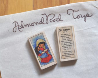 St Anne Patron Saint Block // patron of grandmothers // Catholic Toys by AlmondRod Toys