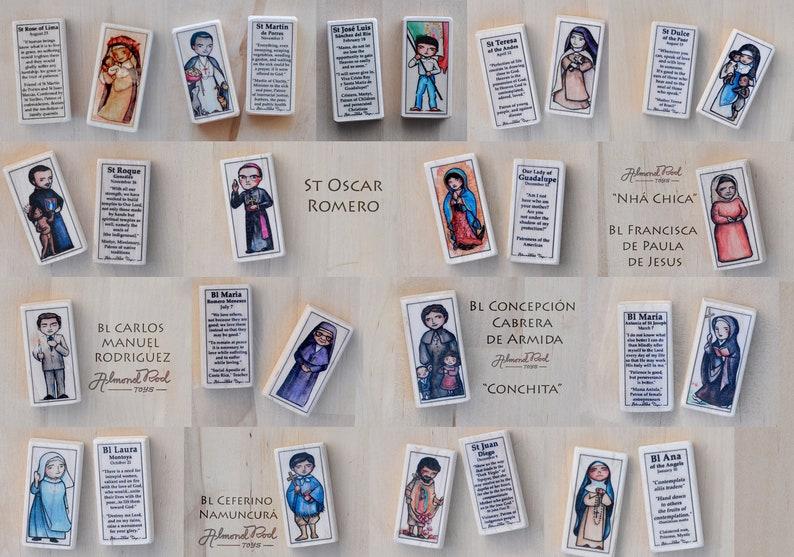 Hispanic  Catholic toys by AlmondRod Toys 5 Latino Saint blocks of your choice  Latin American Catholic