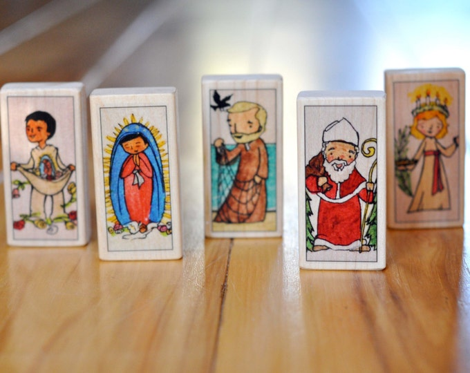 5 December Saint blocks // Advent Toy // Feasts of St Nicholas, Saint Lucy, John, Our lady of Guadalupe, Juan Diego