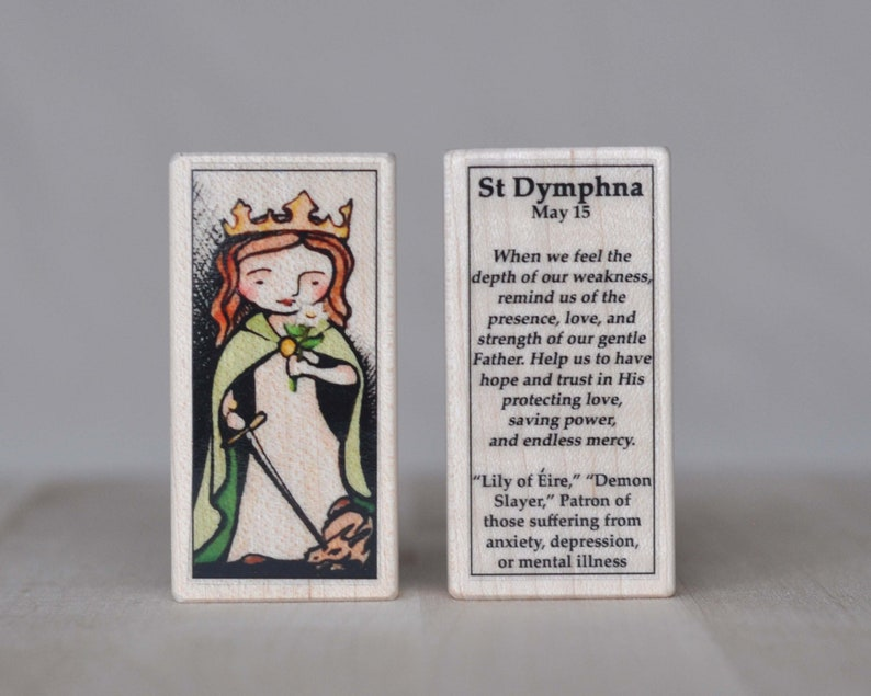 St Dymphna Patron Saint Block // Patron of depression, anxiety and mental  illness // Catholic Toys by AlmondRod Toys