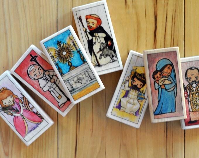 7 Catholic Saint Blocks of your choice (100+ patron saints) // Catholic toys