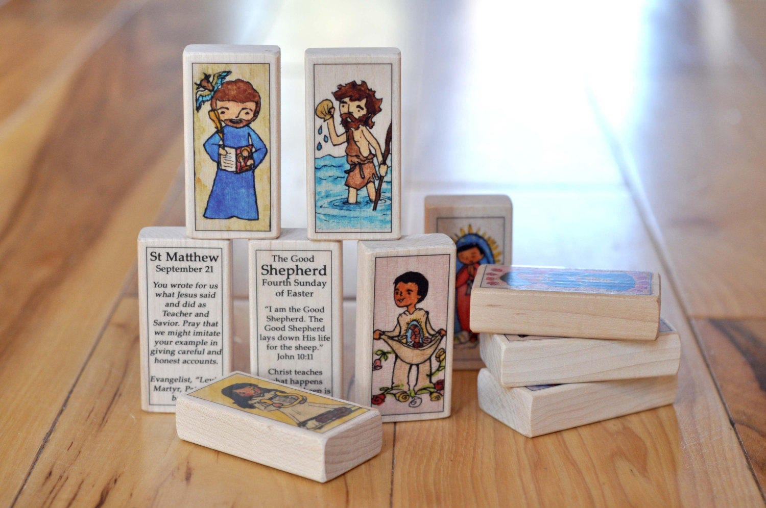 catholic toys      nature lovers saint block set      st dominic  francis of assisi  kateri