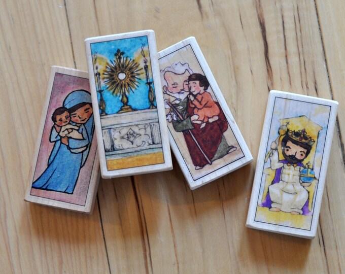 4 Saint blocks of your choice // Catholic gift // Catholic toys //