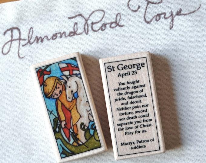 St George Patron Saint Block // 100+ Catholic Saints to choose from // Catholic boy // patron of soldiers
