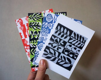 Set of eight colorful postcards, blanc cards, set of greetingcards, art postcards