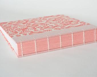 square photo album 22,5 x 22,5 cm, keepsake album, pink-white photo album, babygirl album, photo storage, handbound photo album
