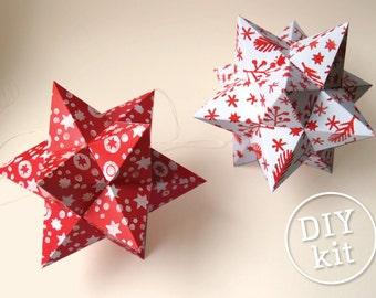 2 Printable Paper Christmas Stars, Easy to make. Geometric Christmas Ornaments downloadable DIY kit.