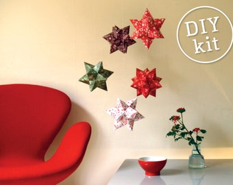 Printable Holiday Kit, 5 Printable Christmas Stars, Easy to make. Geometric Christmas Decoration downloadable DIY kit.