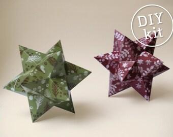 2 Printable Paper Christmas Stars, Easy to make. Geometric Christmas Ornament downloadable DIY kit.
