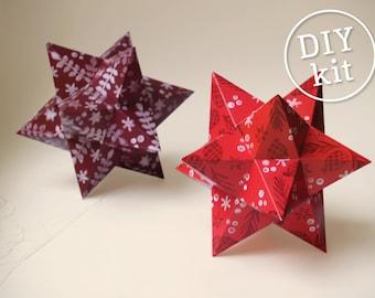 Printable Christmas Decorations, Easy to make. 2 Geometric Christmas Ornaments downloadable DIY kit.