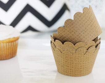 BURLAP Cupcake Wrappers - Set of 24
