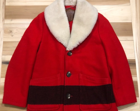 Woolrich Wool Coat Shearling Shawl Collar Stripe