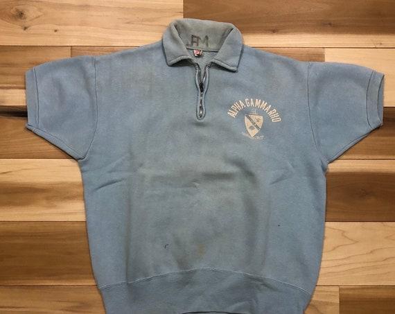 1950s Fraternity Sweatshirt Champion Running Man quarter zip pullover