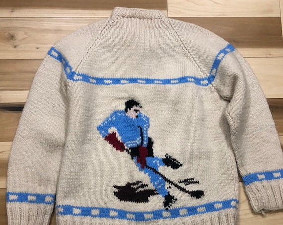 1960s Cowichan Wool Sweater Hockey Cardigan