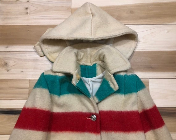 50s Hudson Bay Coat Point Blanket All Wool w/ Hood