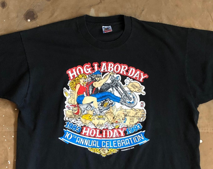 90s Motorcycle tee Hawg Labor Day