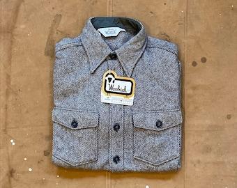 70s Woolrich Wool Shirt Jacket Denim Weave Alaskan NOS