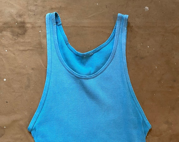 1970s Tank Top Grants 100 cotton Blue