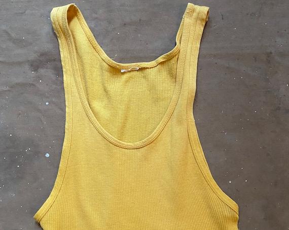 1970s Tank Top 100 cotton Yellow