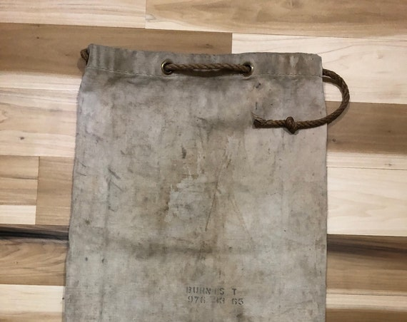 Large Canvas Bag Stencil Rope Draw String