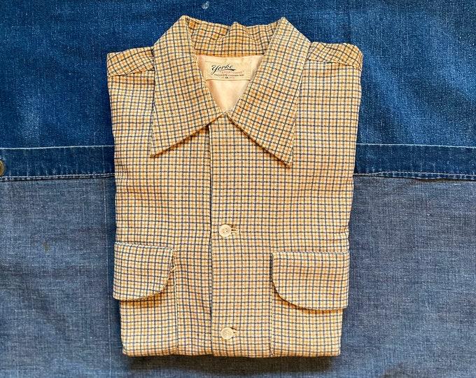 """1940s Loop Collar Corduroy Shirt Yellow York """"Sportowne"""" NOS*"""