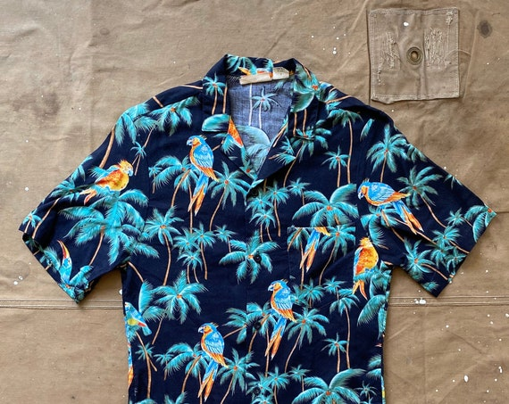Rayon Hawaiian shirt Parrot Palm Tree