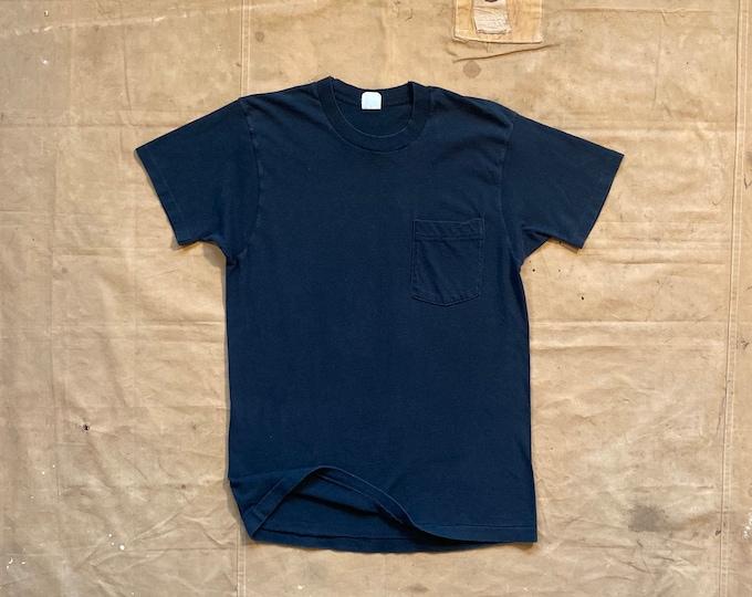 80s Black Pocket Tee Single stitch