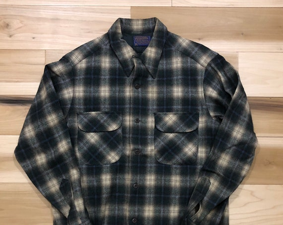 1970s Pendleton Board Shirt 100% Virgin Wool Button Down