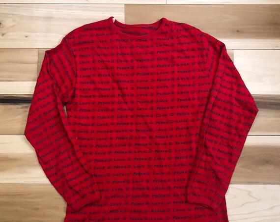 Peace Love 1960s Knit Shirt Long Sleeve