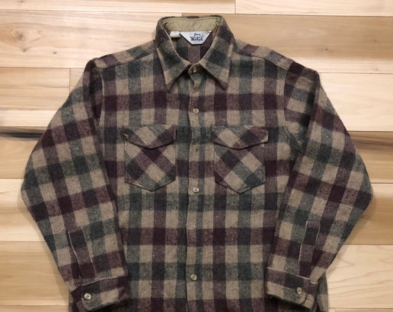 Woolrich Shirt Buffalo Plaid Heavy Wool Lumberjack Button Down Shirt