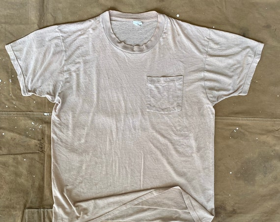 Pocket tee Fruit of the Loom Paper thin Beige