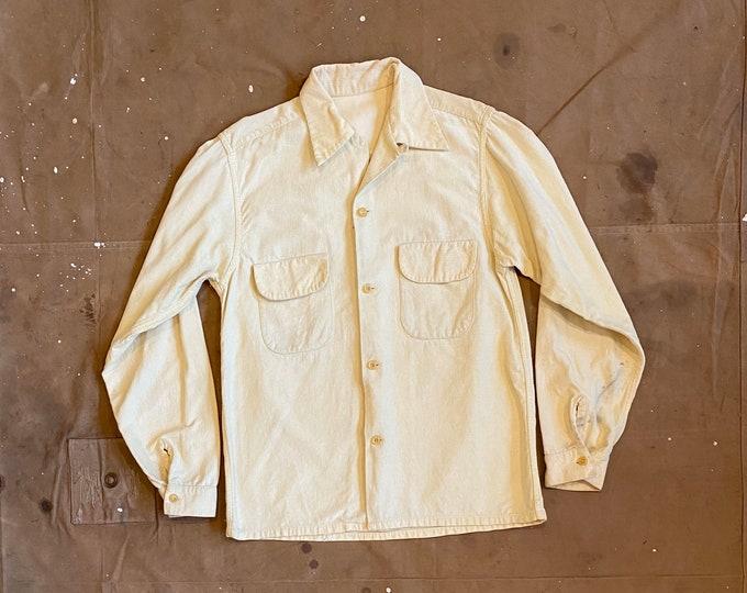 Yellow 1940s Corduroy Button down loop collar