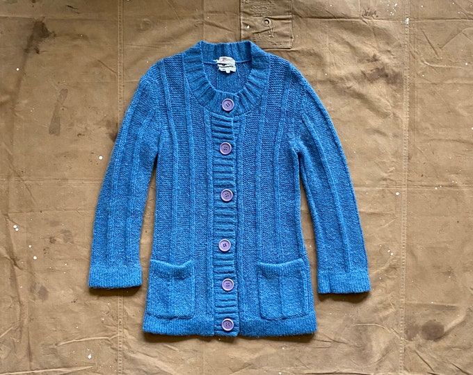 60s Mohair Cardigan Sweater Long Hairy